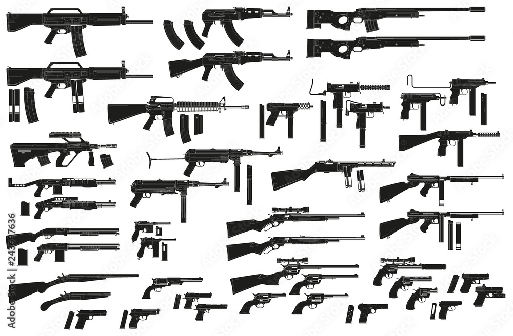 Fototapeta Graphic black detailed silhouette pistols, guns, rifles, submachines, revolvers and shotguns. Isolated on white background. Vector weapon and firearm icons set. Vol. 2