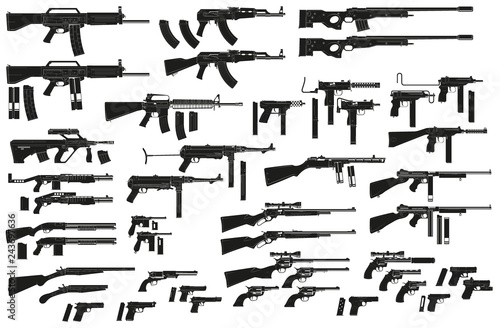 Photo  Graphic black detailed silhouette pistols, guns, rifles, submachines, revolvers and shotguns