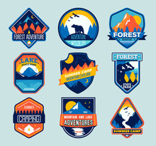 Set Of Isolated Badges With Mountain Peaks And Forest Camp. Forest Camp Labels In Vintage Style. Mountain Tourism, Hiking.