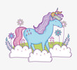 cute unicorn in the clouds with flowers and leaves