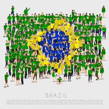 Crowd Of People In Shape Of Brazil Flag : Vector Illustration