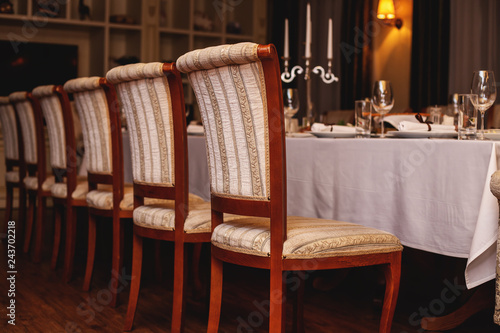 Restaurant interior. Cozy restaurant table setting