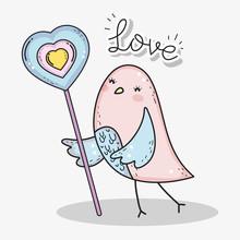 Bird With Heart Lollipop To Happy Valentines Day