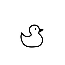 Duck Toy Outline Icon. Clipart Image Isolated On White Background