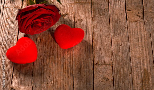 Valentines Day At Trader Rose >> Valentine S Day Red Hearts And Rose On Old Wooden Floor Buy This