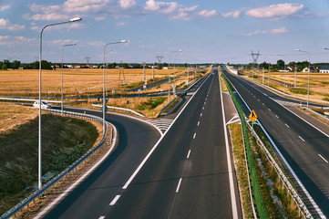 The new two-lane expressway  near Poznan in Poland.