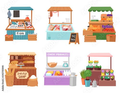 Food market vector salesman seller character selling in bookshop butcher or bake Fotobehang