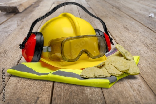 Fotografie, Obraz Safety Equipment - Helmet, Goggles, Ear Protection, Vest and