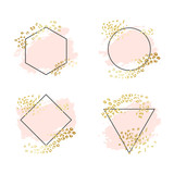 Abstract geometric vector background, brush paint illustration, frame, element, shape set. Pink ink brush stroke with rich golden exotic leopard animal skin texture - 243708278
