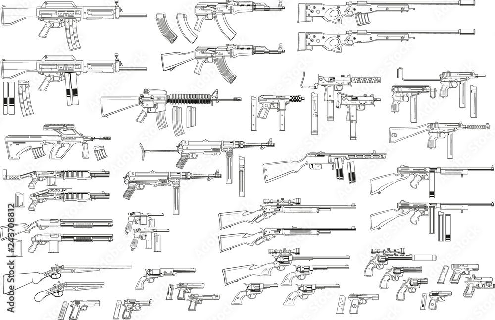 Fototapeta Graphic black and white detailed silhouette pistols, guns, rifles, submachines, revolvers and shotguns. Isolated on white background. Vector weapon and firearm icons set.