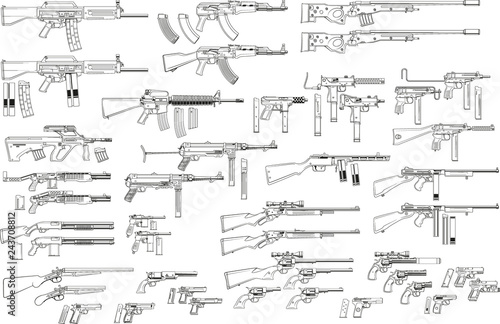 Fototapeta Graphic black and white detailed silhouette pistols, guns, rifles, submachines, revolvers and shotguns. Isolated on white background. Vector weapon and firearm icons set. obraz