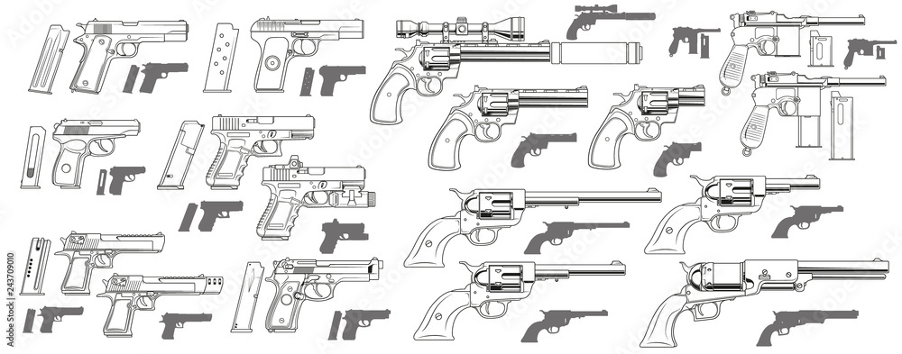 Fototapeta Graphic black and white detailed modern and retro pistols and revolvers with ammo clip. Isolated on white background. Vector icon set.