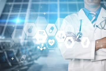 Doctor work on digital tablet abstract app background blog