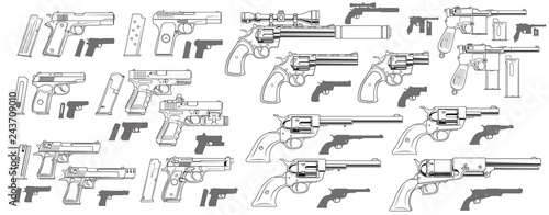 Photographie Graphic black and white detailed modern and retro pistols and revolvers with ammo clip