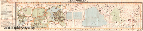 Obraz na płótnie 1860, Pocket Map of Central Park, New York City