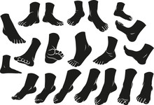 Cartoon Black Silhouette Man Or Woman Foots Gesture Set. Different Foot Positions. Vector Icons.