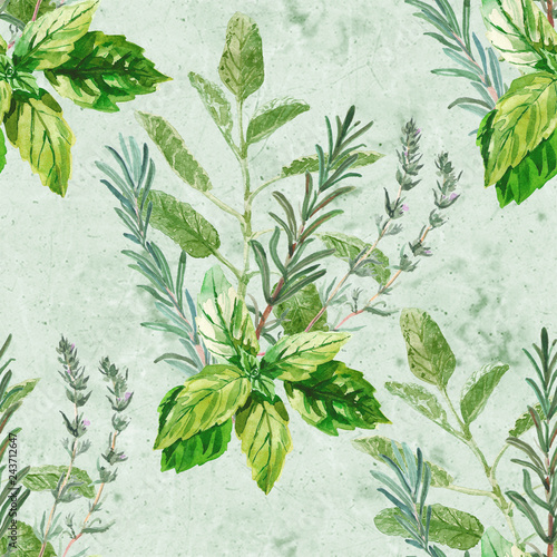 akwarela-bezszwowe-wzor-z-bukietem-swiezych-ziol-kulinarnych-i-leczniczych-i-oddzialow-bazylia-rozmaryn-tymianek-szalwia-zielo