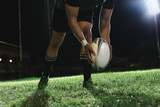 Rugby player kicking field goals
