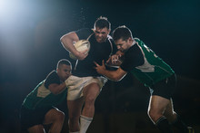 Rugby Ball Carrier In Action