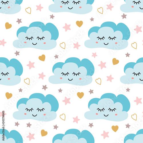 Ładny wzór nieba. Wektor wzór z uśmiechniętym, śpiącym księżycem, sercami, gwiazdami i chmurami. Ilustracja dziecka.