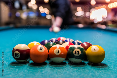 Canvas Print Set of billiard balls in triangle on table