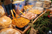 Picture Of Fresh Vegetables And Meat At The Street Market During Night