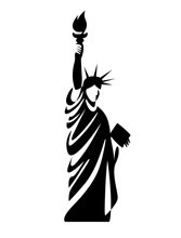 Black Silhouette Vector Illustration Of The Statue Of Liberty, New York