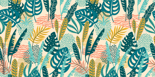 Papiers peints Style Boho Abstract seamless pattern with tropical leaves. Vector template.