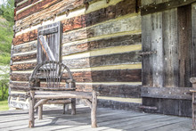 Front Porch. Weathered Log Cab...