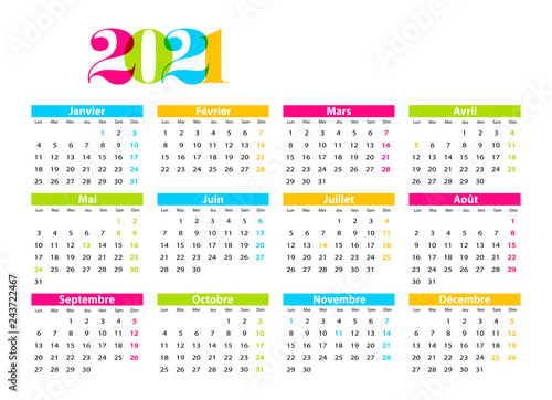 Calendrier Français 2021 calendrier 2021   Buy this stock vector and explore similar