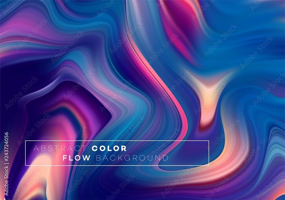 Fototapety, obrazy: Modern colorful flow poster. Wave Liquid shape in black color background. Art design for your design project. Vector illustration