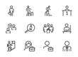 Career line icon set. Set of line icons on white background. First place, candidate, team. Career concept. Vector illustration can be used for topics like job, hiring process
