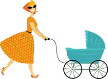 Vintage Mother With A Stroller...