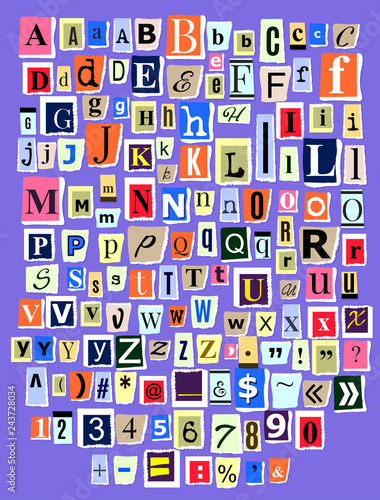 Plakat abecadło - alfabet alphabet-collage-abc-vector-alphabetical-font-letter-cutout-of-newspaper-magazine-and-colorful-alphabetic-handmade-cutting-text-newsprint-illustration-alphabetically-typeset-isolated-on-background