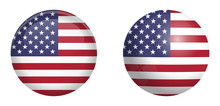 United States Of America Flag Under 3d Dome Button And On Glossy Sphere / Ball.