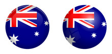 Australian Flag Under 3d Dome Button And On Glossy Sphere / Ball.