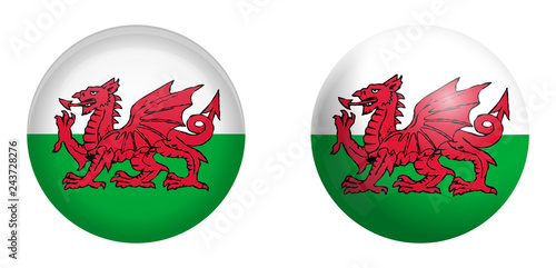 Stampa su Tela Wales (Cymru) flag under 3d dome button and on glossy sphere / ball