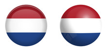 Holland Flag Under 3d Dome Button And On Glossy Sphere / Ball.