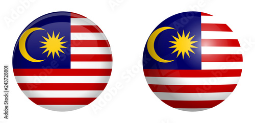 Fotografía Malay flag under 3d dome button and on glossy sphere / ball.