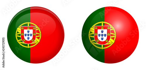 Foto  Portugal flag under 3d dome button and on glossy sphere / ball.