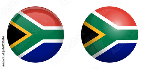 Fototapeta South Africa flag under 3d dome button and on glossy sphere / ball