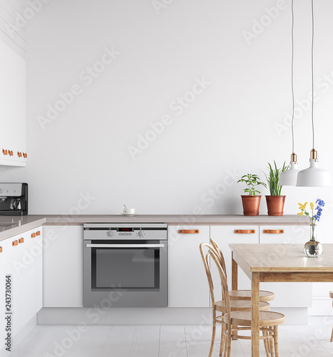 Αφίσα  Scandinavian kitchen interior, wall mock up, 3d render