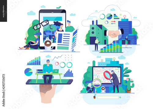 Photo Business series set, color 2-modern flat vector concept illustrated topics - news - articles, b2b partnership, online expert - consulting, search results
