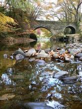 Rocks And Reflections Of The River Tavy At Denham Bridge, Bere Aslton, Devon. England