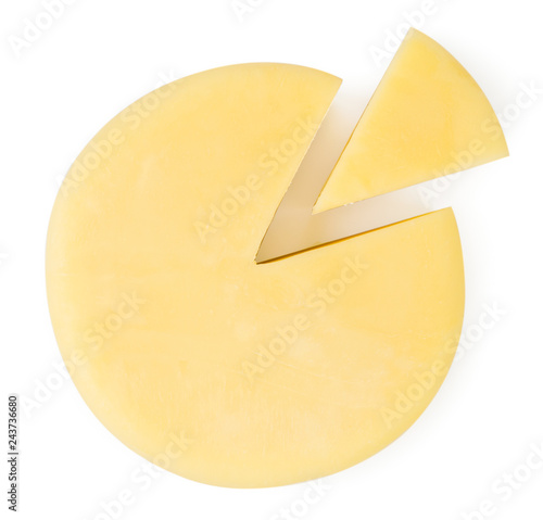 Fototapeta Round cheese and a slice on a white. The form of the top. obraz