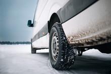 Modern Cargo Van At Winter