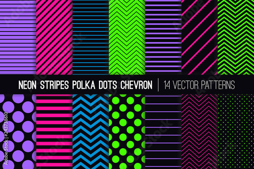 Glowing Neon Vector Patterns In Polka Dots Chevron And Stripes