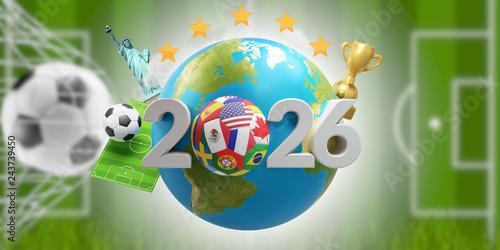 Fotografia  2026 soccer ball with earth globe 3d-illustration