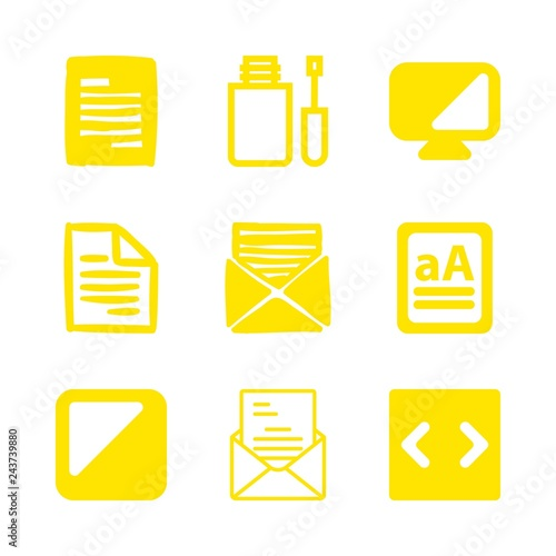 Fotografía  type icons set with correction fluid, letter symbol and contrast of monitor vect