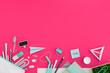 Leinwanddruck Bild - Creative flat lay desk in pink color.